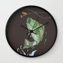 Largemouth Bass Jumping Out Of Water At Night // Spinner lure // Splashing Water // Fish On! Wall Clock