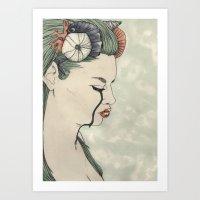 Mermaid out of Sea Art Print