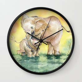 Colorful Mother's Love - Elephant Wall Clock