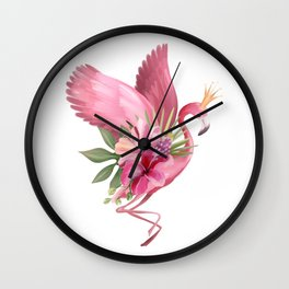 Flamingo in flight with a crown Wall Clock