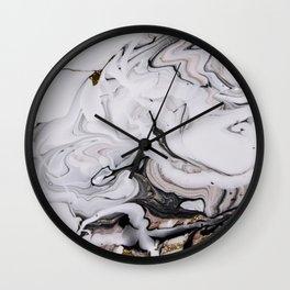 Elegant dark swirls of marble Wall Clock