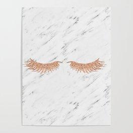 Rose gold marble lash envy Poster