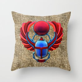 Colorful Egyptian Scarab Throw Pillow