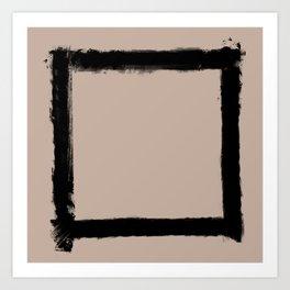 Square Strokes Black on Nude Art Print