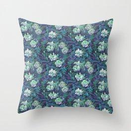 White roses, blue leaves Throw Pillow