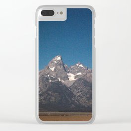 Grand Tetons as the Eclipse fades away Clear iPhone Case
