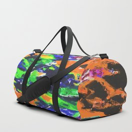 psychedelic splash painting abstract texture in brown green blue yellow pink Duffle Bag