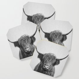 Highland Cow - Black & White Coaster