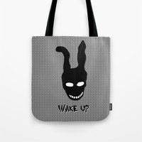 donnie darko Tote Bags featuring Donnie Darko Wake Up by Grace