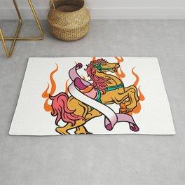 tattoo of Crazy Horse on orange flames Rug