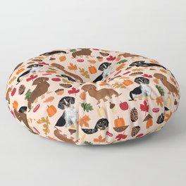 Dachshunds Autumn Cute florals pumpkin pinecones fall dogs cute doxie dog design Floor Pillow