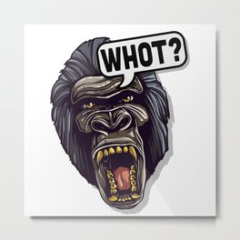 Monkey Facial Expression - What - bright Metal Print