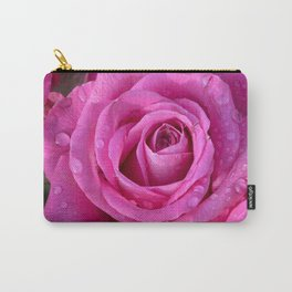 Pink rose close up with raindrops Carry-All Pouch