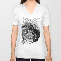 bug V-neck T-shirts featuring BUG! by PRESTOONS / Art by Dennis Preston