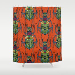 flower beetle orange Shower Curtain