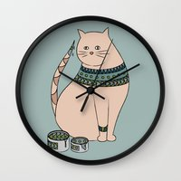 ethnic Wall Clocks featuring Ethnic cat by Emma S
