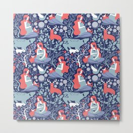 Mother Nature Scandinavian Inspiration // navy background blue and coral details Metal Print