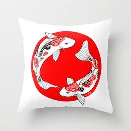 Japanese Kois Throw Pillow