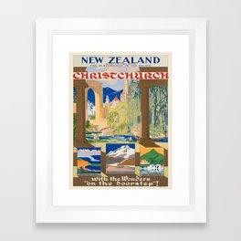 Vintage poster - Christchurch Framed Art Print