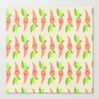 vegetable Canvas Prints featuring VEGETABLE-CARROTS! by Claudia Ramos Designs