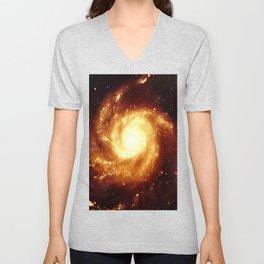 Golden Spiral Galaxy Unisex V-Neck