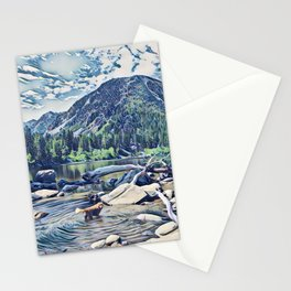 Golden Retriever. Mountain Lake Trail Stationery Cards