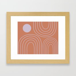 Minimalist Curved Lines and Shapes in Rust and Lilac Framed Art Print