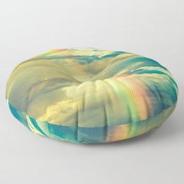 Rainbow Blue Sky Clouds Floor Pillow