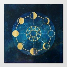 Gold Moon Phases Sun Stars Night Sky Navy Blue Canvas Print