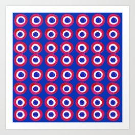 Donut Evil Eye Amulet Talisman - red on blue doughnut Art Print