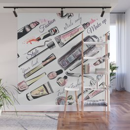 Fashion pattern with cosmetic in watercolor style Wall Mural
