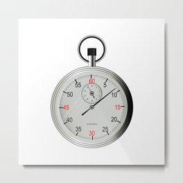 Silver Stop Watch Metal Print