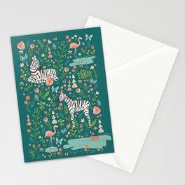 Wild Zebras in Green Garden Stationery Cards