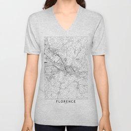 Florence White Map Unisex V-Neck