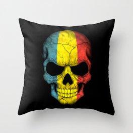 Dark Skull with Flag of Romania Throw Pillow