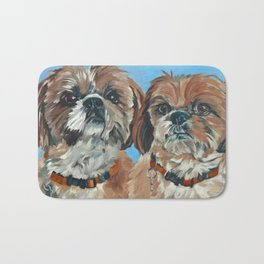 Shih Tzu Buddies Dog Portrait Bath Mat