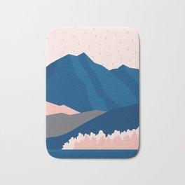 Mt Cook New Zealand Geometric Mountain Art Bath Mat