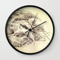 bones Wall Clocks featuring Bones by Vilebedeva