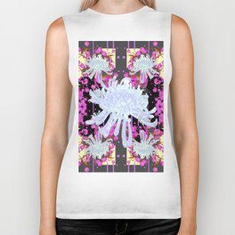 Black & Grey  Decorative Modern White Mums Patterns Flowers Biker Tank