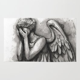 Weeping Angel Watercolor Doctor Who Art Rug