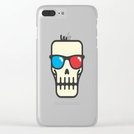 Line skull with 3D glasses Clear iPhone Case