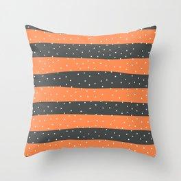 Christmas Simple seamless pattern Snow confetti on Grey and Orange Stripes Background Throw Pillow