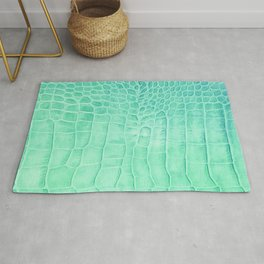 Croco leather effect - green water Rug