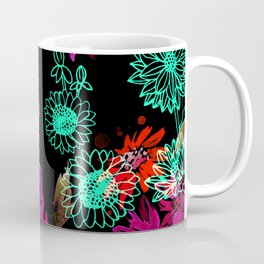 Neon Glow Floral Blooms Coffee Mug