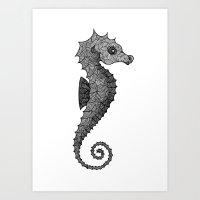 seahorse Art Prints featuring Seahorse by silb_ck