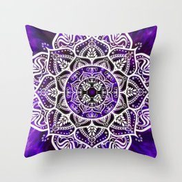 Mandala Violet Spirit Spiritual Zen Bohemian Hippie Yoga Mantra Meditation Throw Pillow