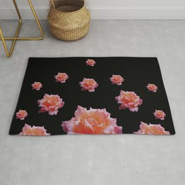 ROMANTIC ANTIQUE PINK ROSES ON BLACK Rug