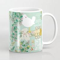woodstock Mugs featuring Woodstock Birdie Collage Print by Claudia Schoen