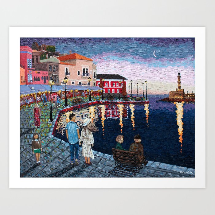 Greece: A Night in Chania, Crete Art Print