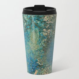 Blue And Gold Modern Abstract Art Painting Travel Mug